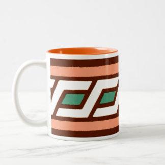 Geometric Jade Salmon Moyen Age Medieval Design Two-Tone Coffee Mug