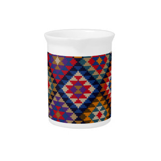 Geometric knitted quilt pattern pitchers