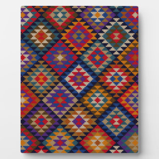 Geometric knitted quilt pattern photo plaques