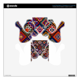 Geometric knitted quilt pattern skin for PS3 controller