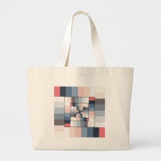 Geometric Layers of Color Large Tote Bag