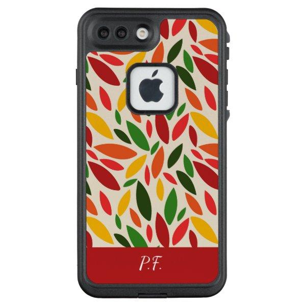 Geometric leaf shapes autumn fall colors LifeProof FRĒ iPhone 7 plus case