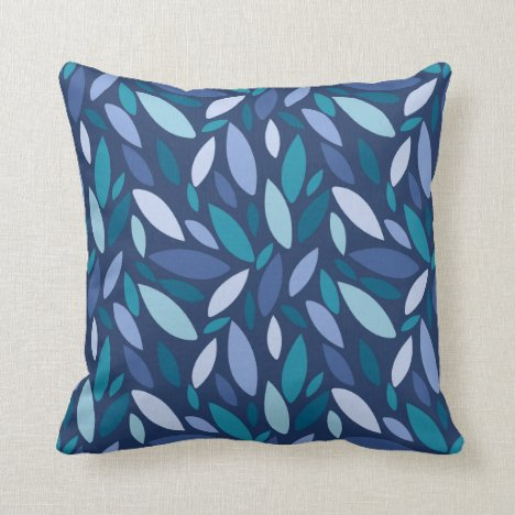 Geometric leaf shapes blue seafoam colors throw pillow