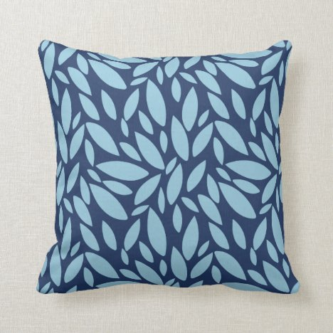 Geometric leaf shapes two tone blue throw pillow