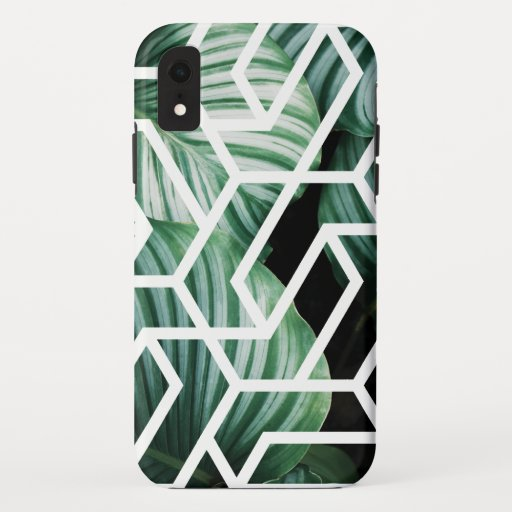 Geometric Leaves Pattern Design iPhone XR Case