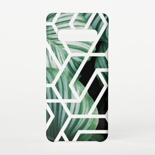 Geometric Leaves Pattern Design Samsung Galaxy S10 Case