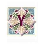 Geometric Letter Y Post Card