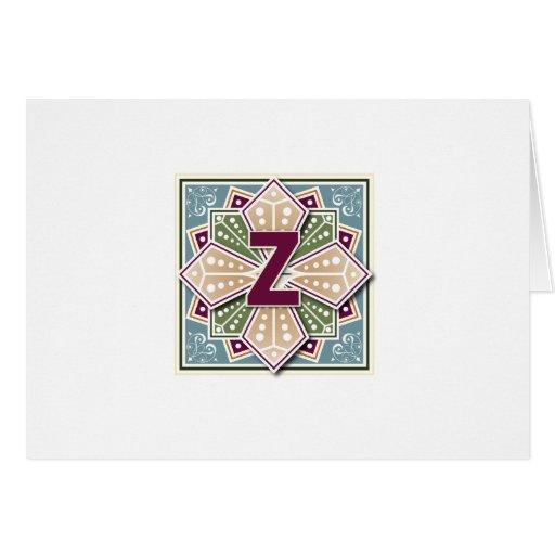 Geometric Letter Z Vingate Intaglio Greeting Card