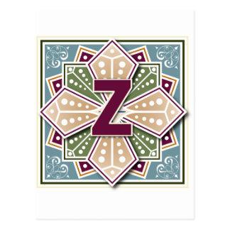 Geometric Letter Z Vingate Intaglio Postcard