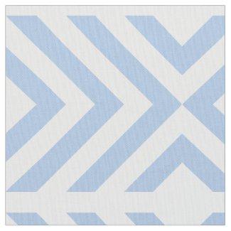 Geometric Light Blue and White Chevrons, Diamonds Fabric