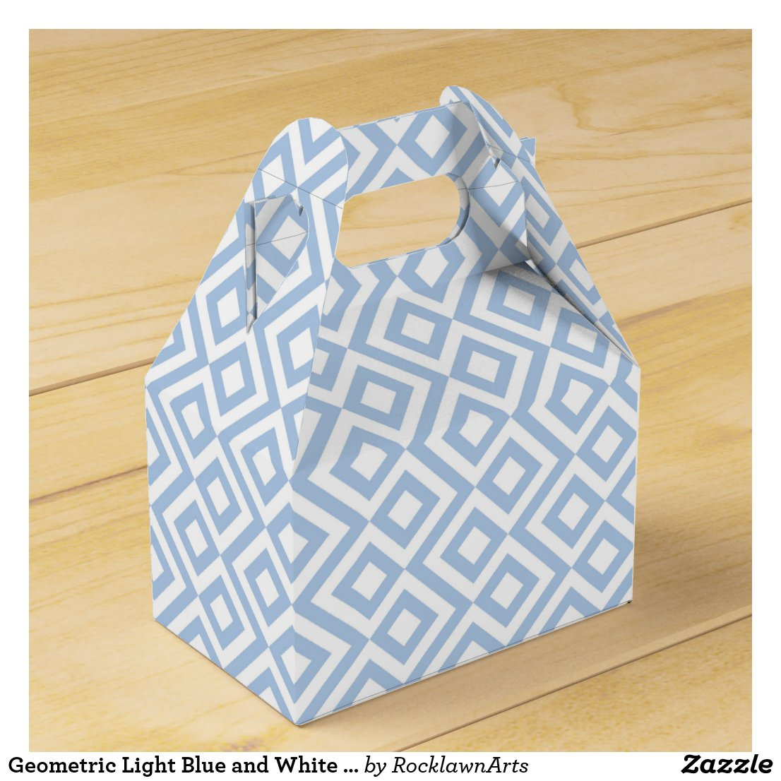 Geometric Light Blue and White Meander Favor Box