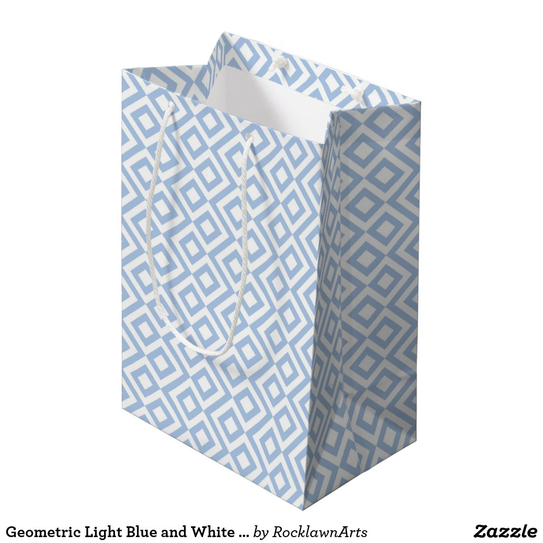 Geometric Light Blue and White Meander Gift Bag