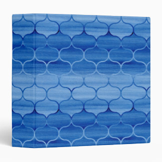Geometric Light to Dark Blue Painted Ogees Binder