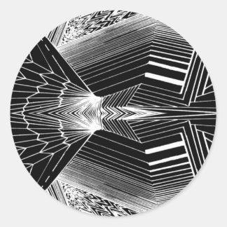 Geometric Line Art Black & White Abstract Design Classic Round Sticker