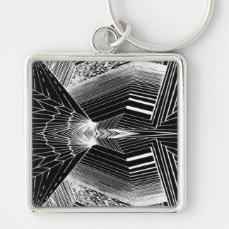 Geometric Line Art Black & White Abstract Design Keychain