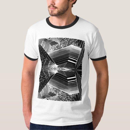 Geometric Line Art Black & White Abstract Design T-Shirt