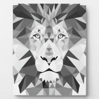 Geometric Lion Black and White Plaque