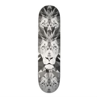 Geometric Lion Black and White Skateboard Deck