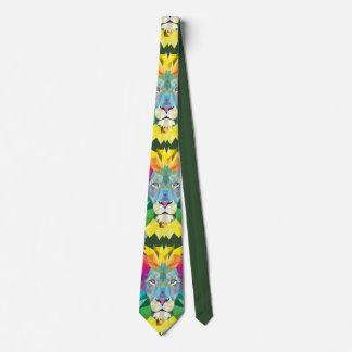 Geometric Lion Head Green Tie