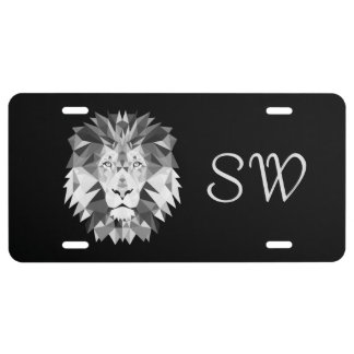 Geometric Lion Head Monogram License Plate