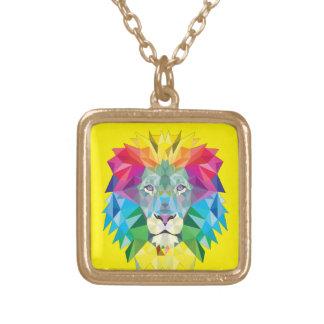 Geometric Lion Head Square Pendant Necklace