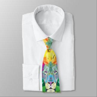 Geometric Lion Head Yellow Tie