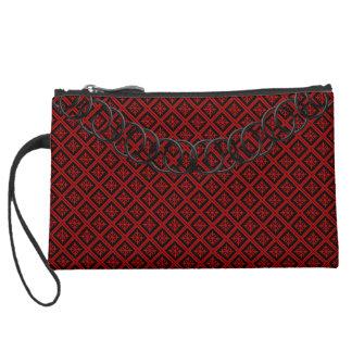Geometric Luxury Baguette Red & Black Black Chain Suede Wristlet Wallet