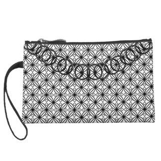 Geometric Luxury Black & White BlackChain Baguette Suede Wristlet Wallet