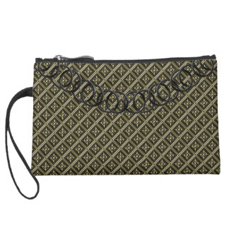 """Geometric Luxury Evening """"Old Gold"""" Black Chain Suede Wristlet Wallet"""
