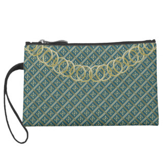 """Geometric Luxury Evening """"Old Gold"""" & Lineage Teal Suede Wristlet"""