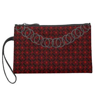 Geometric Luxury Red & Black Baguette PewterChain Suede Wristlet Wallet