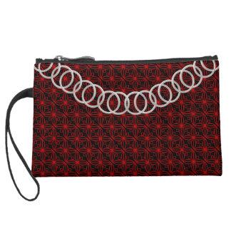 Geometric Luxury Red & Black Baguette Silver Chain Suede Wristlet Wallet