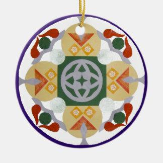geometric mandala, collage ceramic ornament