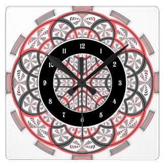 Geometric mandala square wall clock