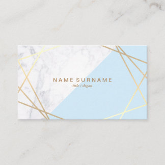 Geometric Marble BabyBlue Gold Business Card