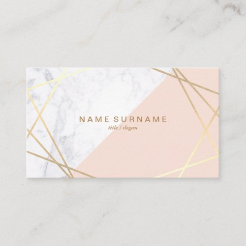 Geometric Marble Gold Light Pink Business Card