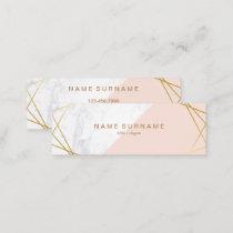 Geometric Marble Gold LightPink Mini Business Card