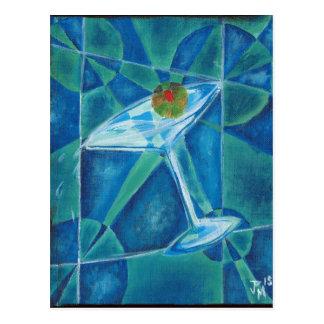 Geometric Martini Glass Postcard