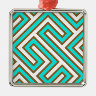 Geometric Maze Textured Square Metal Christmas Ornament