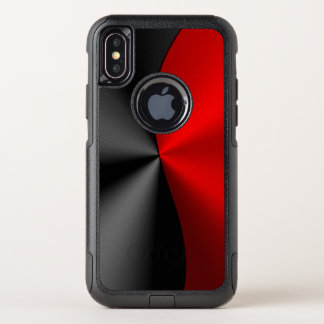 Geometric Metallic Red & Black Geometric Design OtterBox Commuter iPhone X Case