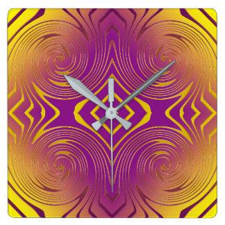 geometric metallic swirl texture square wall clock