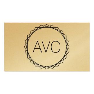Geometric Minimalist Modern Monogram Black & Gold Business Card