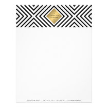 Geometric Mod Bold Black and White Pattern Letterhead