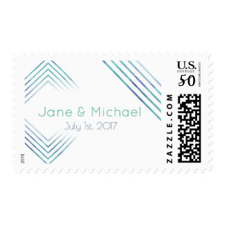 Geometric Modern Watercolor Wedding Stamps