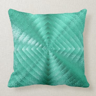 McTiffany Tiffany Aqua Geometric Monochromatic Glass Mint Green Tiffany Throw Pillow