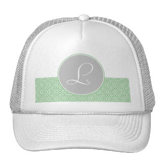 Geometric Monograma drawn up Moroccan green gray a Trucker Hat