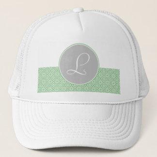 Geometric Monograma drawn up Moroccan green gray Trucker Hat
