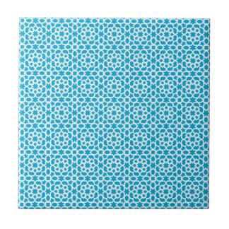 Geometric Moroccan tile mosaic in blue