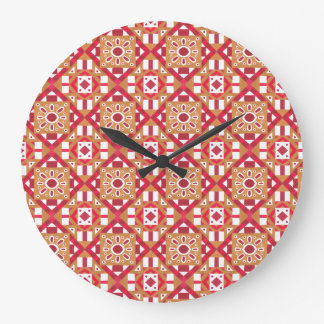 Geometric Moroccan Watercolor Seamless Pattern 1 Large Clock
