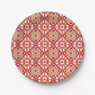 Geometric Moroccan Watercolor Seamless Pattern 1 Paper Plate